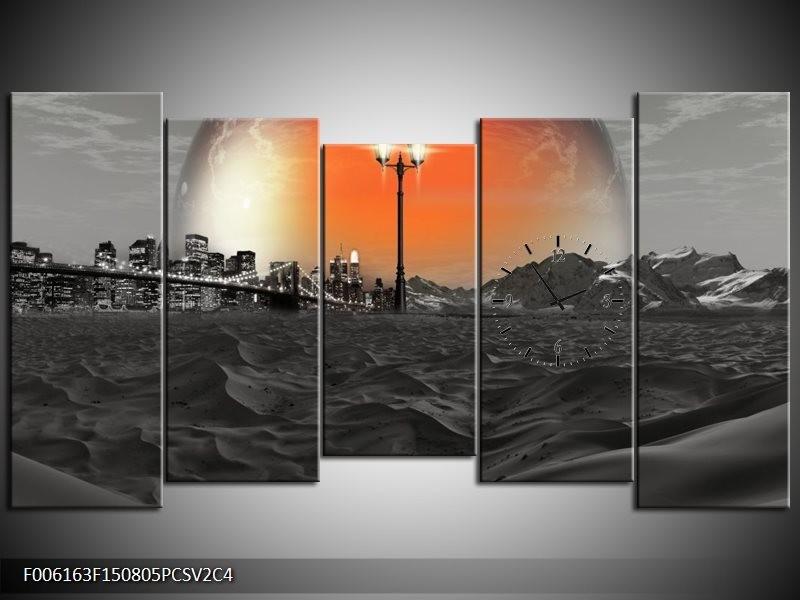 Klok schilderij Steden | Rood, Zwart, Grijs | 150x80cm 5Luik