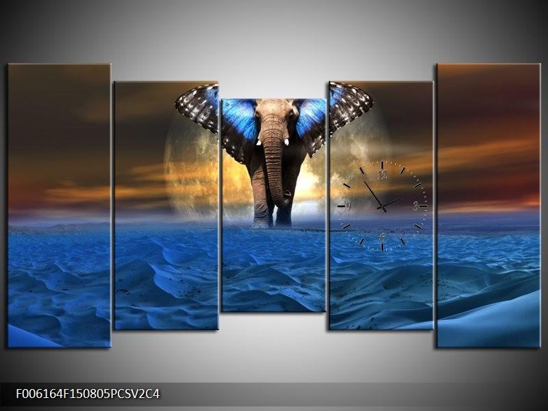 Klok schilderij Olifant | Blauw, Bruin | 150x80cm 5Luik