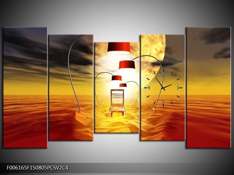 Klok schilderij Modern | Oranje, Rood, Geel | 150x80cm 5Luik