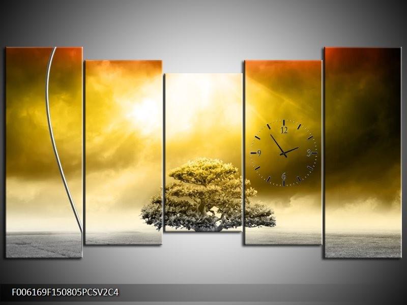 Klok schilderij Modern | Geel, Groen, Rood | 150x80cm 5Luik