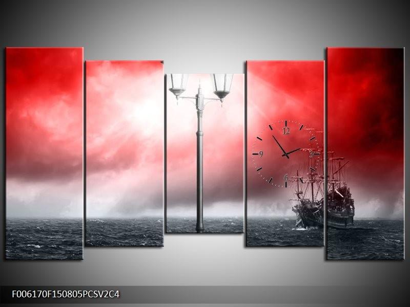 Klok schilderij Zee | Rood, Grijs, Zwart | 150x80cm 5Luik