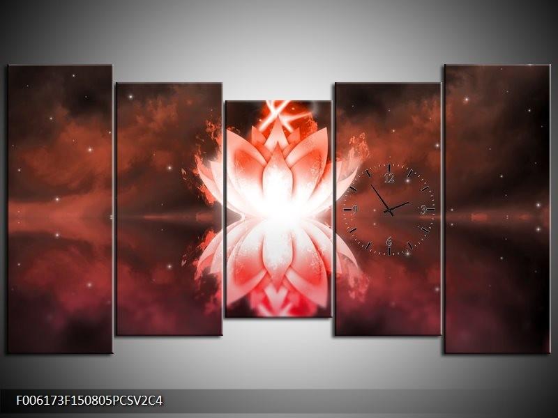 Klok schilderij Abstract | Rood, Wit | 150x80cm 5Luik
