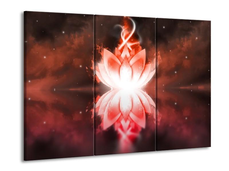Glas schilderij Abstract | Rood, Wit | 90x60cm 3Luik