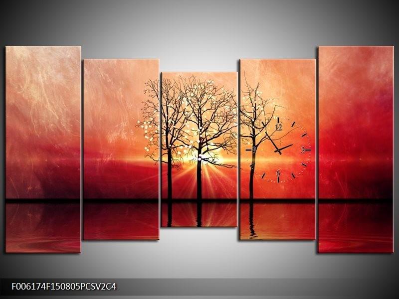 Klok schilderij Abstract | Rood, Geel | 150x80cm 5Luik