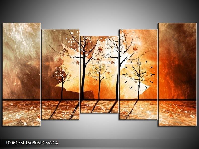 Klok schilderij Abstract | Bruin, Oranje, Geel | 150x80cm 5Luik