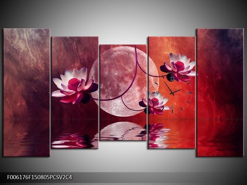 Klok schilderij Modern   Rood, Paars, Roze   150x80cm 5Luik