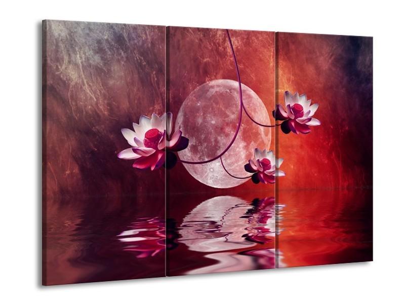 Glas schilderij Modern | Rood, Paars, Roze | 90x60cm 3Luik