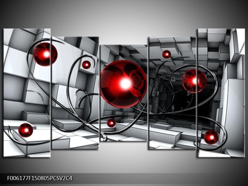 Klok schilderij Modern | Rood, Grijs, Zwart | 150x80cm 5Luik
