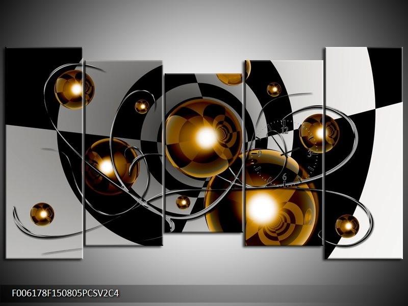 Klok schilderij Modern | Goud, Zwart, Grijs | 150x80cm 5Luik