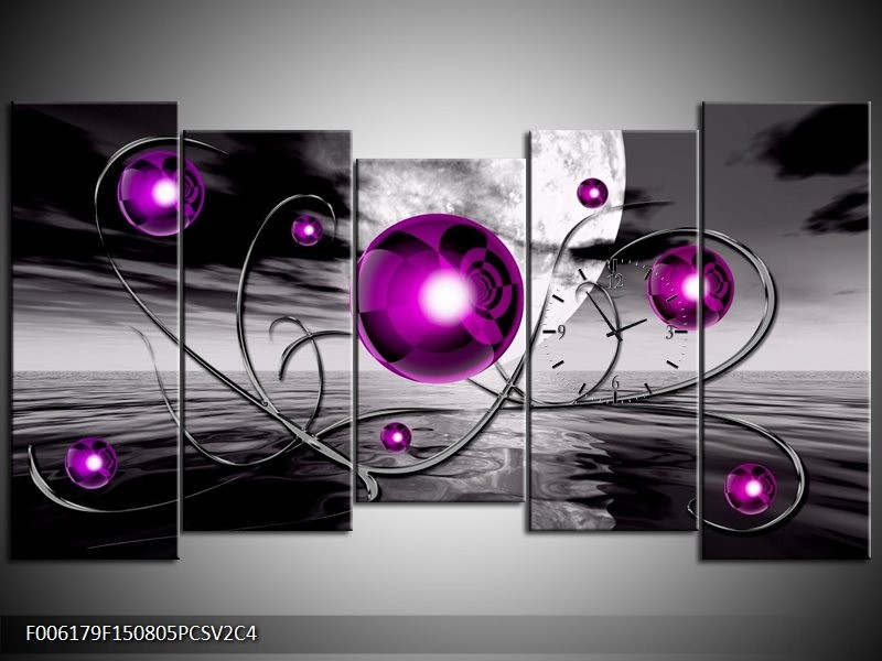 Klok schilderij Modern | Paars, Grijs | 150x80cm 5Luik