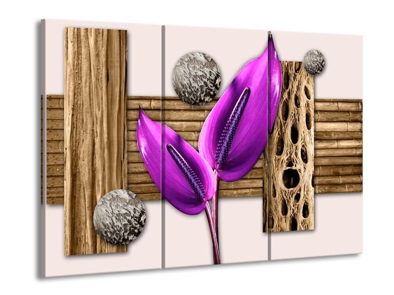 Glas schilderij Modern | Paars, Roze, Bruin | 90x60cm 3Luik