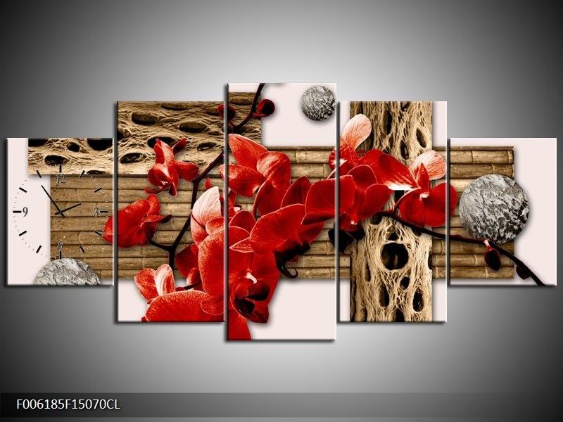 Klok schilderij Orchidee   Rood, Bruin, Crème   150x70cm 5Luik