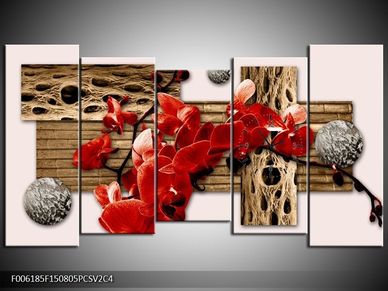 Klok schilderij Orchidee   Rood, Bruin, Crème   150x80cm 5Luik
