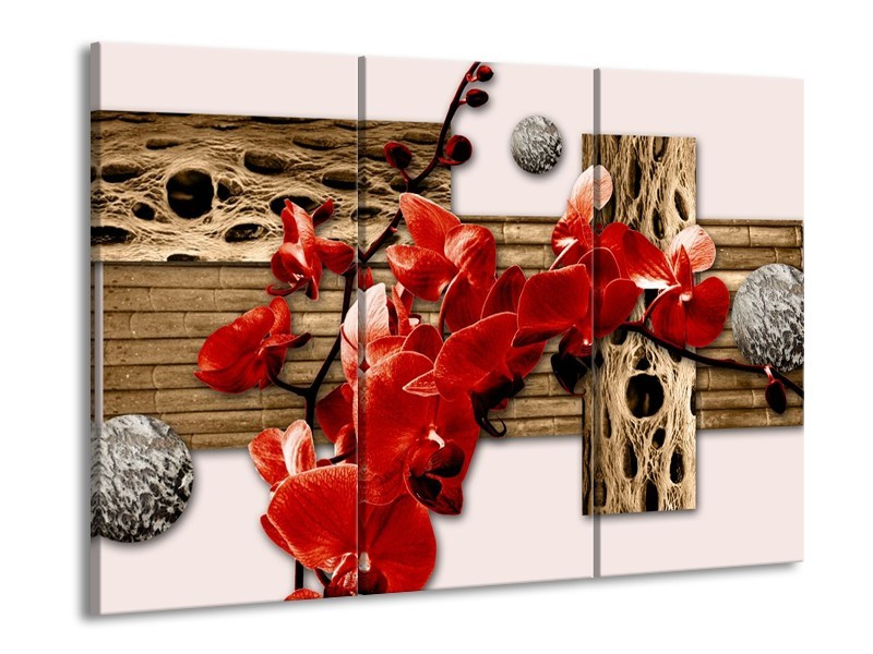 Glas schilderij Orchidee | Rood, Bruin, Crème | 90x60cm 3Luik
