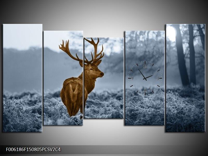 Klok schilderij Hert | Bruin, Blauw, Grijs | 150x80cm 5Luik