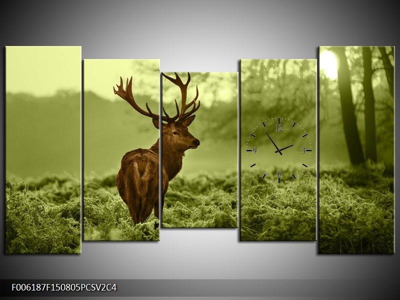 Klok schilderij Hert | Bruin, Groen | 150x80cm 5Luik
