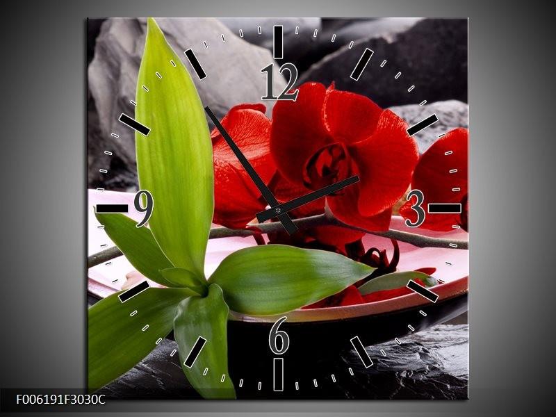 Klok schilderij Orchidee   Rood, Groen, Grijs   30x30cm 1Luik