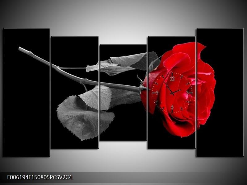 Klok schilderij Roos | Rood, Zwart | 150x80cm 5Luik