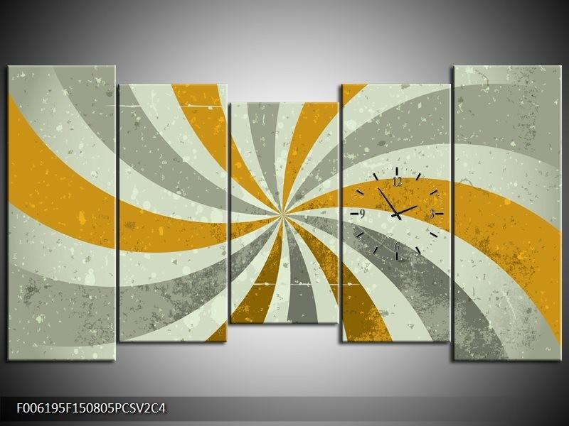 Klok schilderij Abstract | Grijs, Bruin | 150x80cm 5Luik