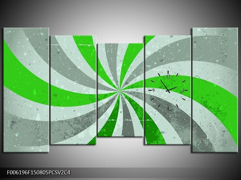 Klok schilderij Abstract | Groen, Grijs | 150x80cm 5Luik