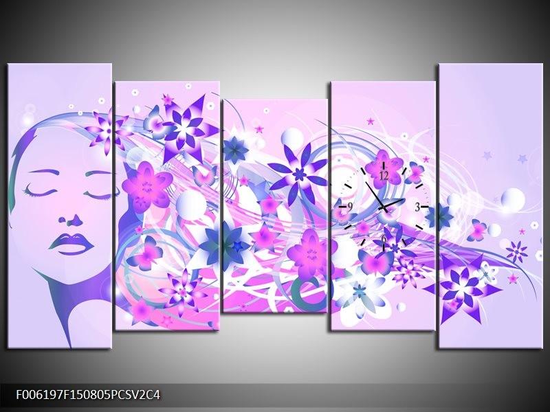 Klok schilderij Abstract | Roze, Paars, Wit | 150x80cm 5Luik