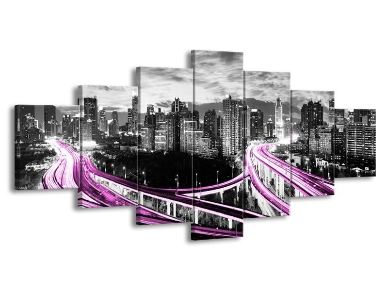 Glas schilderij Wolkenkrabber | Paars, Grijs | 210x100cm 7Luik