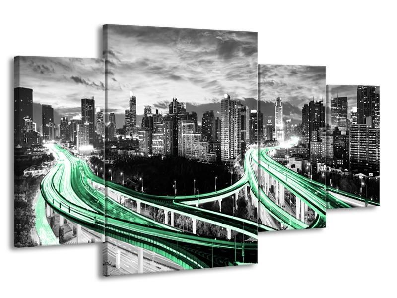Glas schilderij Wolkenkrabber | Groen, Grijs | 160x90cm 4Luik