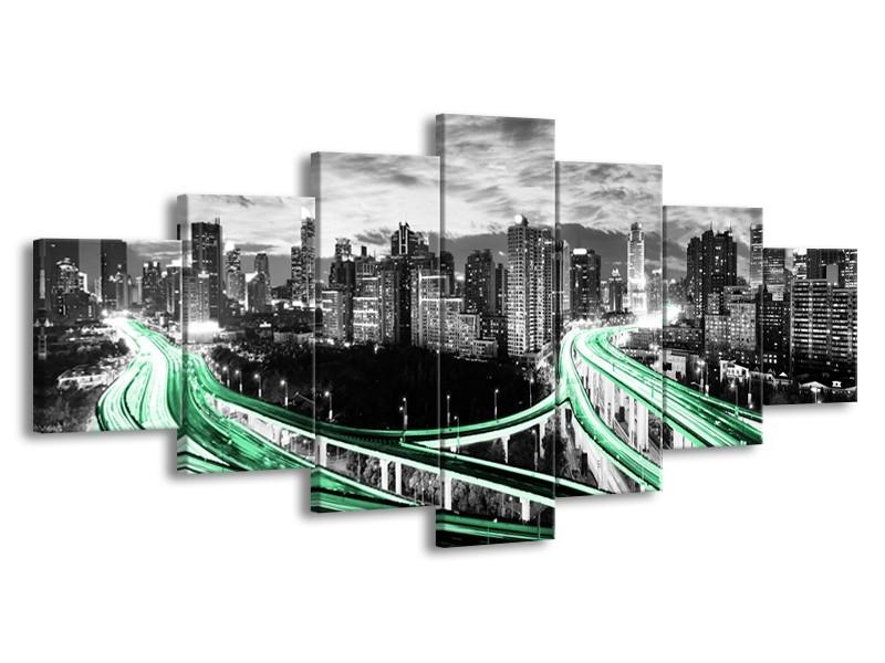 Canvas schilderij Wolkenkrabber | Groen, Grijs | 210x100cm 7Luik