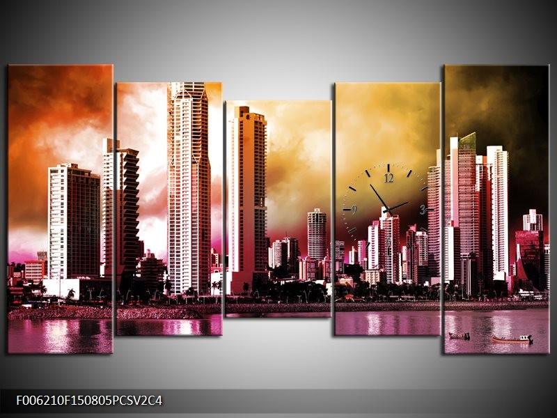 Klok schilderij Wolkenkrabber | Paars, Bruin, Roze | 150x80cm 5Luik