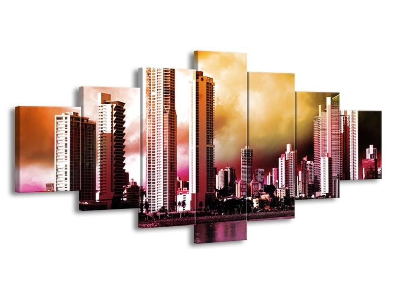 Canvas schilderij Wolkenkrabber | Paars, Bruin, Roze | 210x100cm 7Luik
