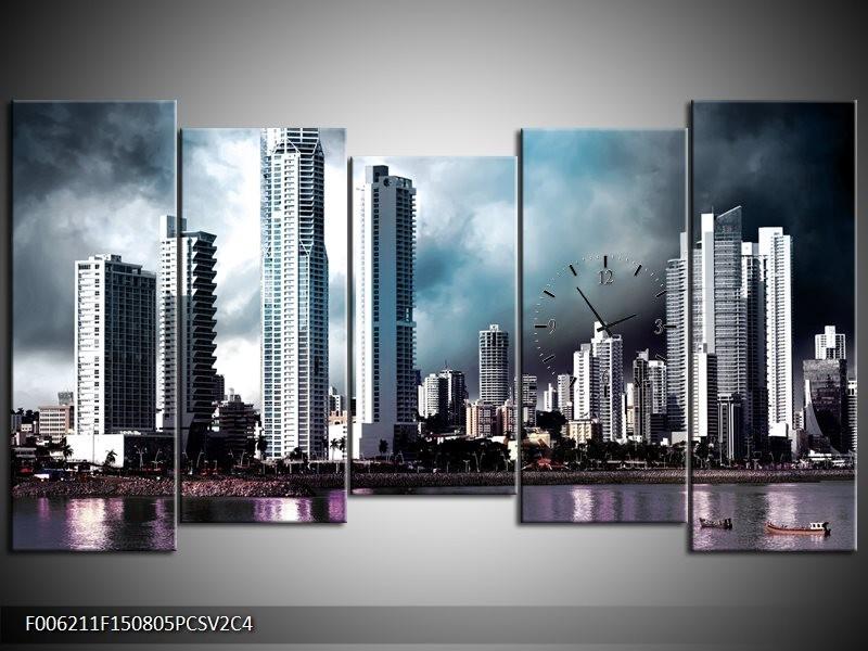 Klok schilderij Wolkenkrabber | Blauw, Paars, Grijs | 150x80cm 5Luik