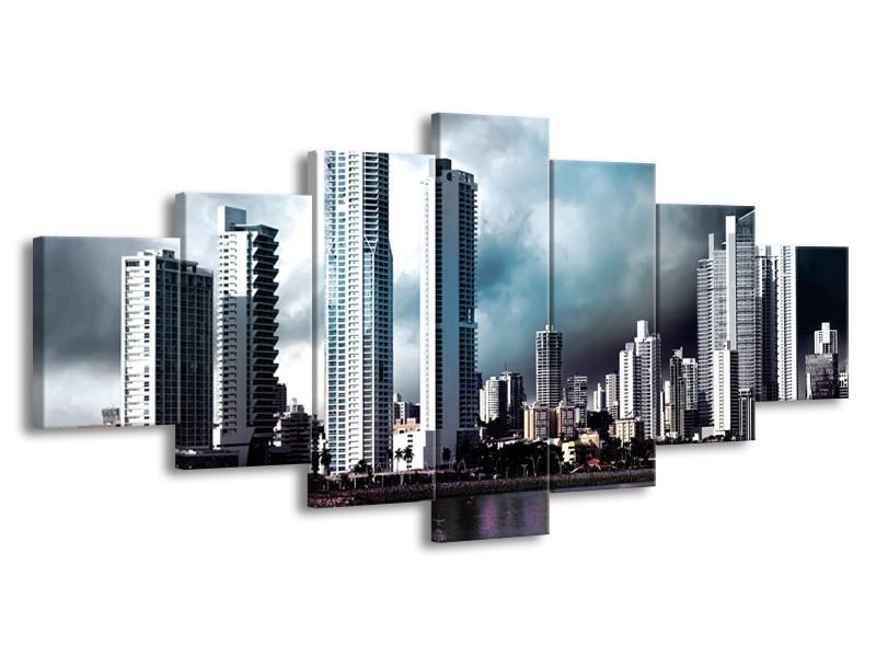 Canvas schilderij Wolkenkrabber | Blauw, Paars, Grijs | 210x100cm 7Luik