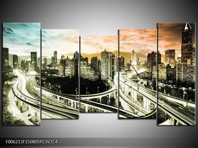 Klok schilderij Wolkenkrabber | Grijs, Blauw, Bruin | 150x80cm 5Luik