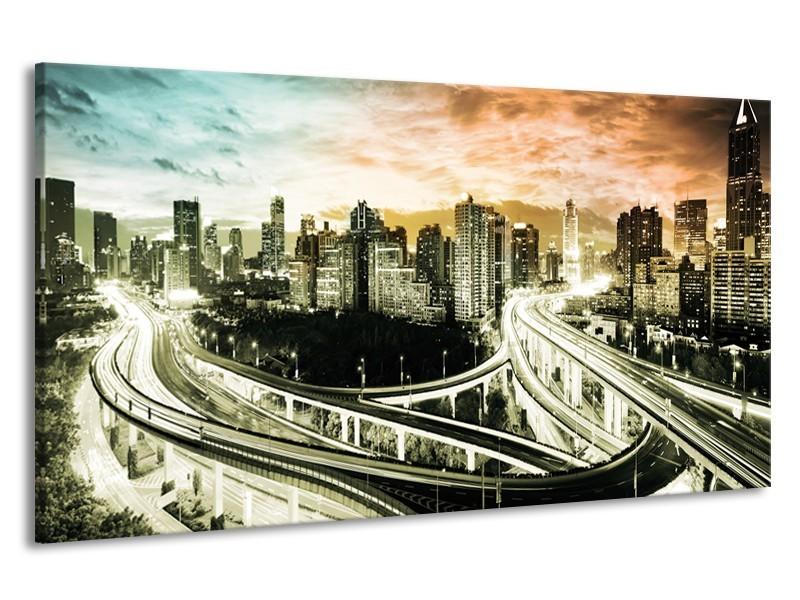 Canvas schilderij Wolkenkrabber | Grijs, Blauw, Bruin | 190x100cm 1Luik
