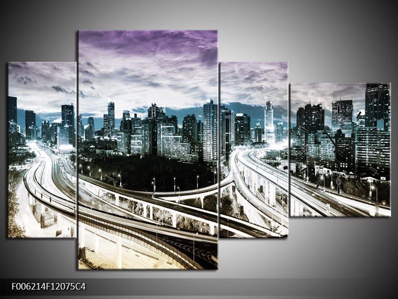 Klok schilderij Wolkenkrabber | Paars, Blauw, Geel | 120x75cm 4Luik