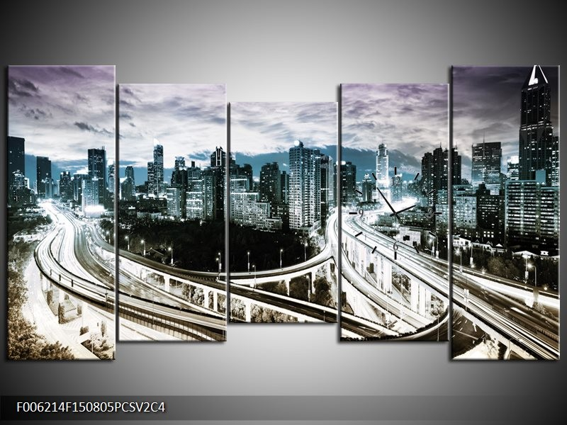 Klok schilderij Wolkenkrabber | Paars, Blauw, Geel | 150x80cm 5Luik