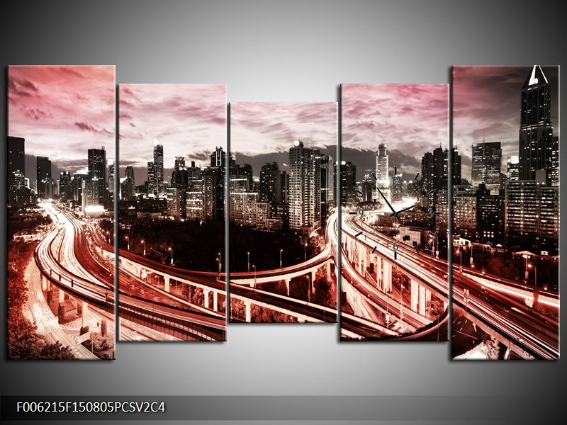 Klok schilderij Wolkenkrabber | Rood, Roze, Grijs | 150x80cm 5Luik