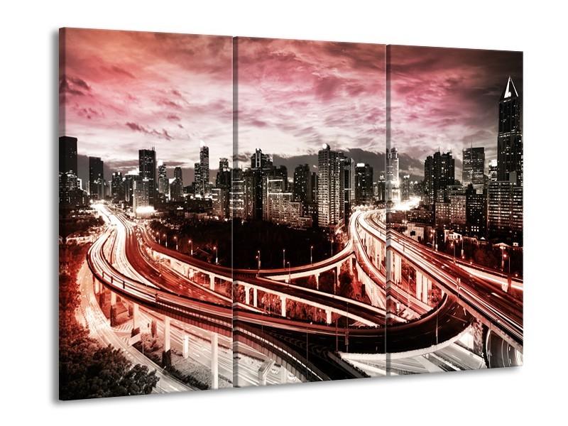Glas schilderij Wolkenkrabber | Rood, Roze, Grijs | 90x60cm 3Luik