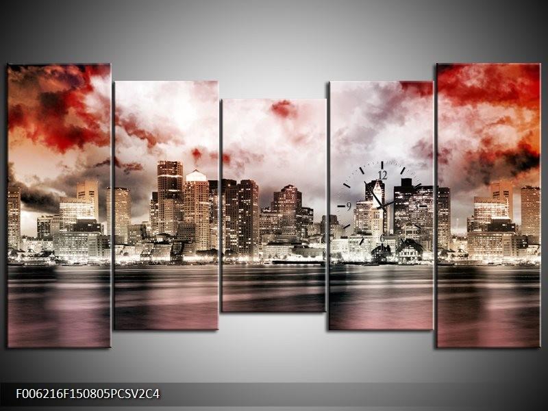 Klok schilderij Wolkenkrabber | Grijs, Rood, Bruin | 150x80cm 5Luik