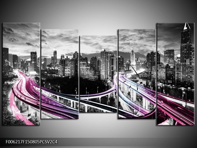 Klok schilderij Wolkenkrabber | Paars, Roze, Grijs | 150x80cm 5Luik