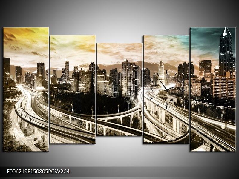 Klok schilderij Wolkenkrabber | Geel, Blauw, Sepia | 150x80cm 5Luik