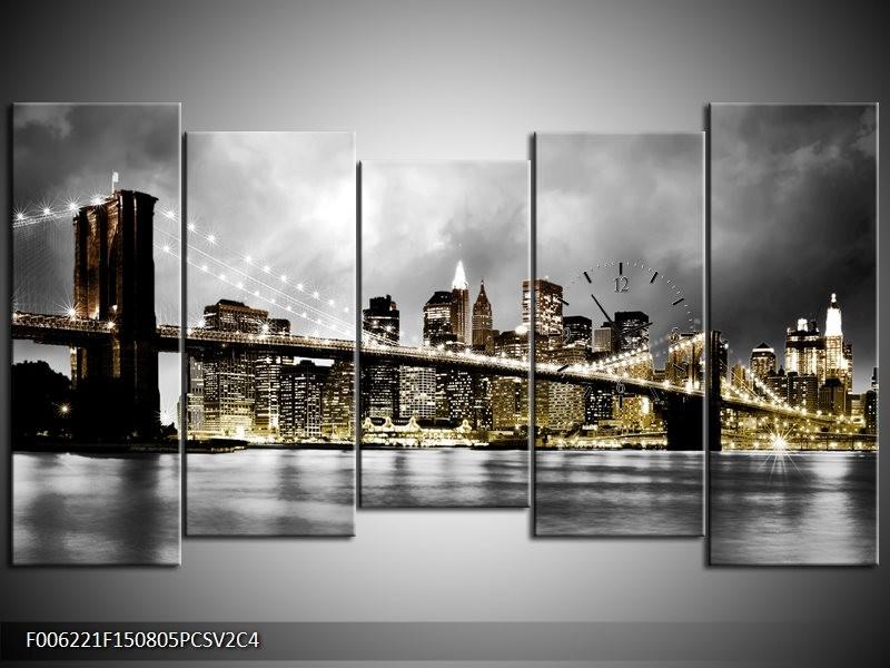 Klok schilderij Brug | Geel, Grijs | 150x80cm 5Luik