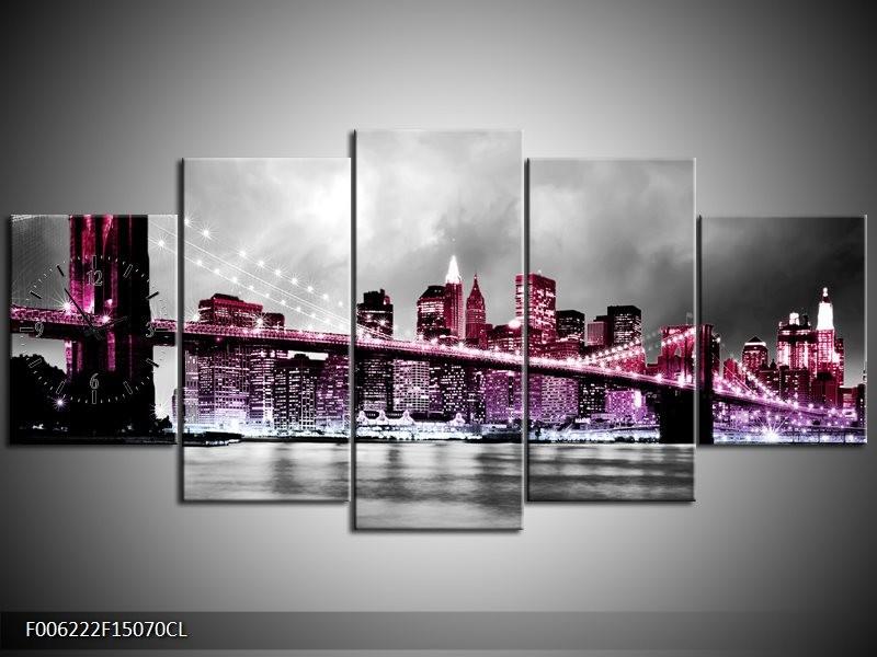 Klok schilderij Brug | Paars, Roze, Grijs | 150x70cm 5Luik