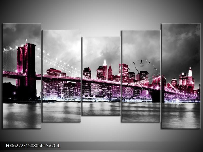 Klok schilderij Brug | Paars, Roze, Grijs | 150x80cm 5Luik