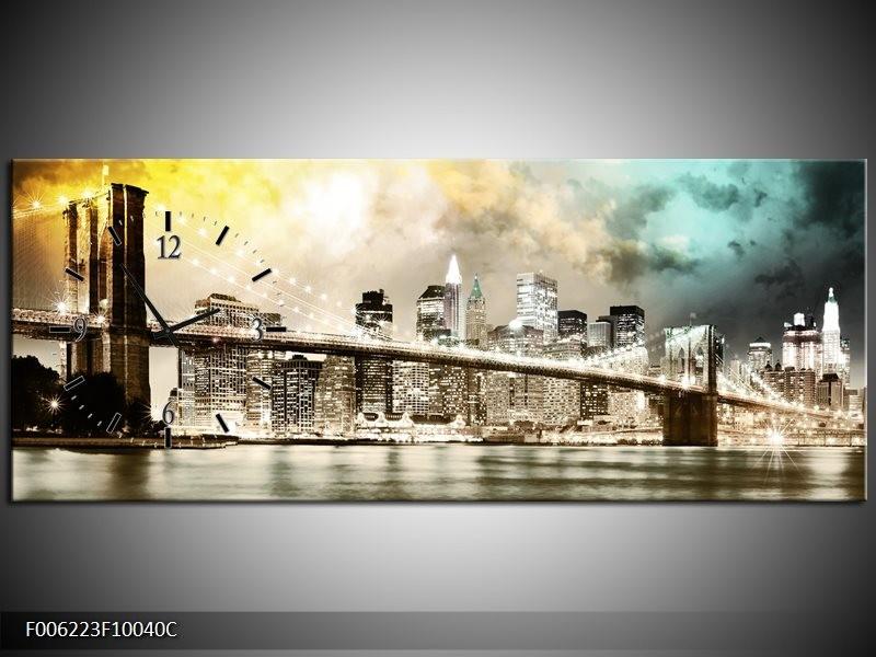 Klok schilderij Brug | Geel, Bruin, Groen | 100x40cm 1Luik