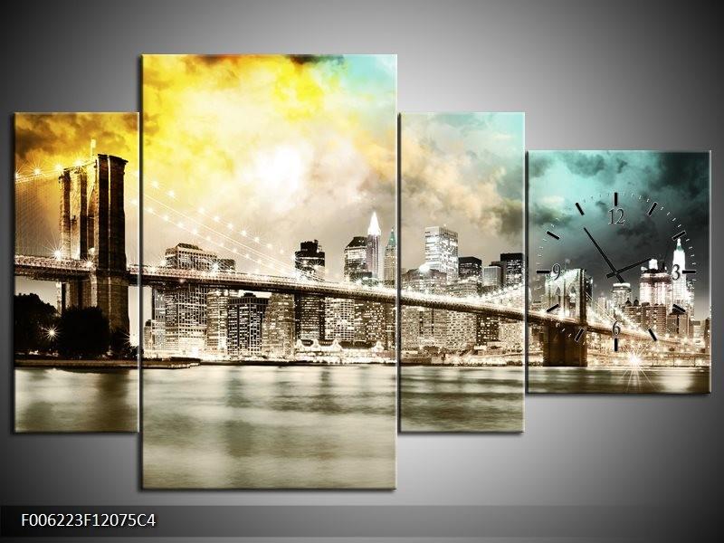 Klok schilderij Brug | Geel, Bruin, Groen | 120x75cm 4Luik