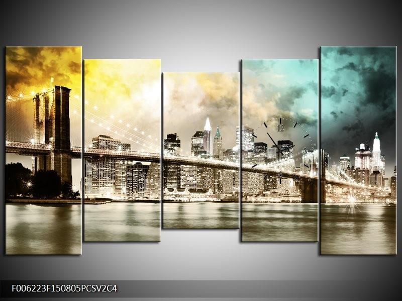 Klok schilderij Brug | Geel, Bruin, Groen | 150x80cm 5Luik