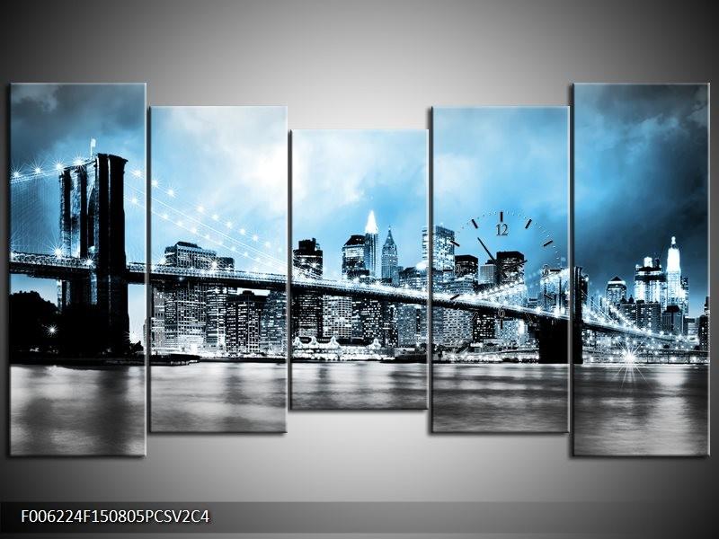 Klok schilderij Brug | Blauw, Grijs | 150x80cm 5Luik
