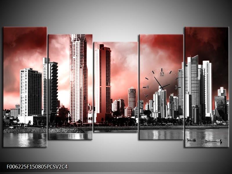 Klok schilderij Wolkenkrabber | Rood, Grijs | 150x80cm 5Luik