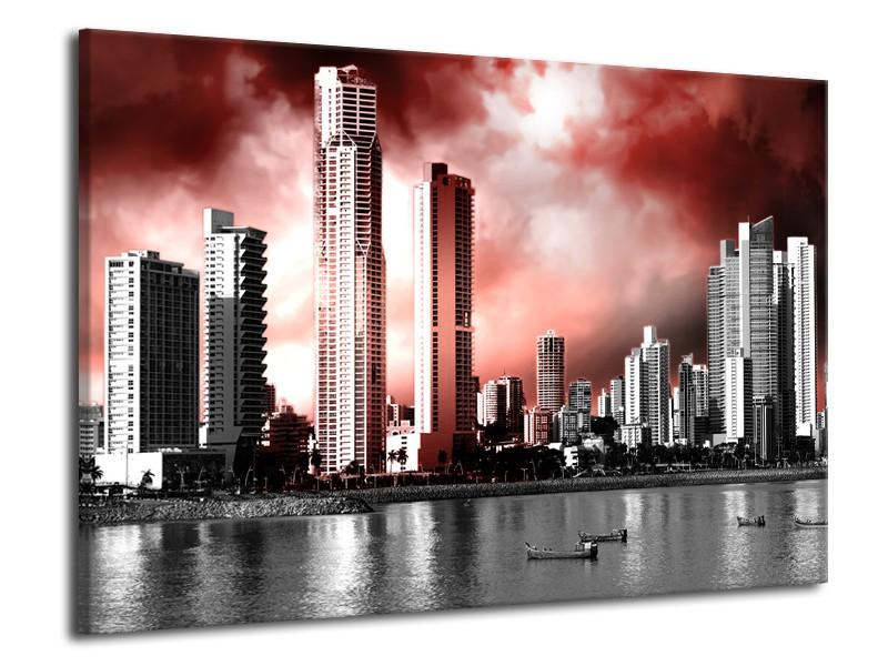 Glas schilderij Wolkenkrabber | Rood, Grijs | 70x50cm 1Luik